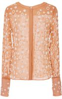 Osman Yousefzada Silk Chiffon Pearl Embroidery Round Neck Shirt in Champagne Pink - Lyst