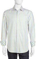 Robert Graham Roger Herringbone Woven Sport Shirt Blueyellow Small - Lyst