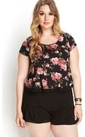 Forever 21 Rose Print Knit Tee - Lyst