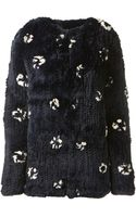 Thakoon White and Navy Printed Rabbit Fur Jacket - Lyst