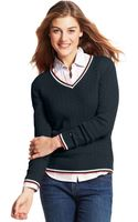 Tommy Hilfiger Long-sleeve Cable-knit V-neck - Lyst