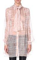 Alexander McQueen Printed Silk Blouse - Lyst