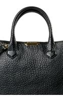 Burberry Black Grained Leather Tote Bag - Lyst