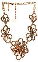 Oscar de la Renta Pave Flower Necklace - Lyst