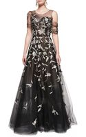 Oscar de la Renta Silver-embroidered Evening Gown - Lyst