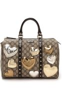 What Goes Around Comes Around Gucci Heart Embellished Boston Bag - Gold - Lyst