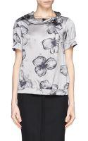 Armani Floral Print Silk Blouse - Lyst