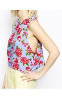 Asos Cropped Vest in Floral Print - Lyst
