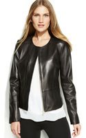 Calvin Klein Zipfront Leather Jacket - Lyst