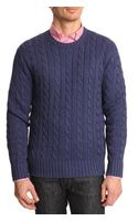 Polo Ralph Lauren Navy Cableknit Sweater - Lyst