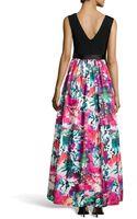 Aidan Mattox Knittop Printedskirt Ball Gown - Lyst