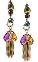 Betsey Johnson Goldtone Multicolor Crystal Tassel Drop Earrings - Lyst