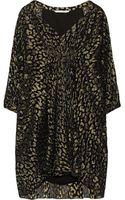 Diane von Furstenberg Fleurette Metallic Leopard Jacquard and Silk Chiffon Dress - Lyst