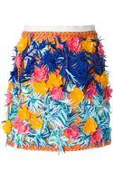 MSGM Floral Embellished A-Line Skirt - Lyst