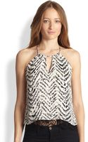 Parker Gully Printed Silk Lacetrimmed Top - Lyst