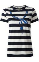Ferragamo Striped Bow Detail Tshirt - Lyst
