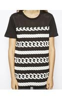 Asos Tunic with Striped Rope Print and Mesh Panels - Lyst