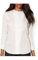 Ralph Lauren Lauren Cotton Bib Shirt - Lyst