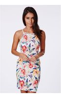 Missguided Susia White Flower Print Racer Neck Mini Dress - Lyst