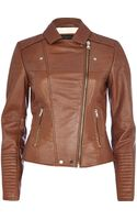 River Island Brown Leather Biker Jacket - Lyst