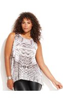 Inc International Concepts Plus Size Illusion Printed Sleeveless Top - Lyst