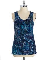 Anne Klein Sleeveless Printed Shell - Lyst