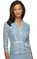 Alex Evenings Plus Belted Sequined Lace Blouse - Lyst