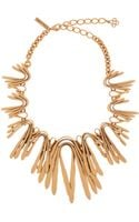 Oscar de la Renta Gold Twist Spike Bib Necklace - Lyst