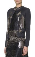 Bottega Veneta Metalliclaminated Lace Cardigan - Lyst