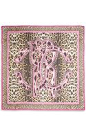 Roberto Cavalli Logo Leopardprint Silk Scarf - Lyst