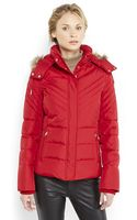 Kenneth Cole Reaction Faux Fur Trim Hooded Puffer Coat - Lyst