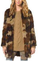 Michael Kors Camouflage Print Faux Fur Coat - Lyst
