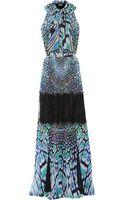 Just Cavalli Lacepaneled Printed Chiffon Gown - Lyst