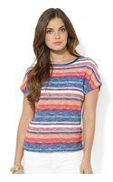 Lauren by Ralph Lauren Shortsleeved Striped Sweater - Lyst