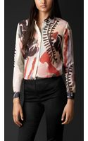 Burberry Floral Print Silk Cotton Shirt - Lyst