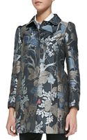 RED Valentino Wooded Forest Jacquard Topper Coat Slate - Lyst