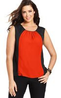 Jones New York Collection Plus Size Sleeveless Colorblocked Top - Lyst