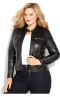 Michael Kors Michael Plus Size Seamed Zip Front Leather Jacket - Lyst