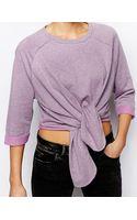Asos Sweatshirt with Tie Front - Lyst