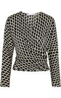 Diane von Furstenberg Stretch Silk Moon Print Wrap Top - Lyst