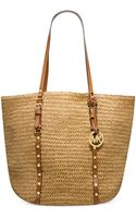 Michael Kors Michael Large Studded Straw Shopper - Lyst