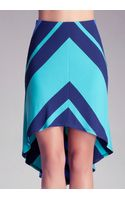Bebe Stripe Mitered High Low Skirt - Lyst