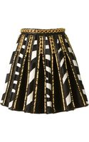 Balmain Black Leather Pleated Skirt Embellished with Gold Brass and Zebra Printed Pony Leather - Lyst