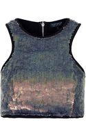 Topshop Sequin Cutaway Crop Top - Lyst