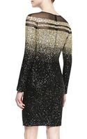 Pamella Roland Longsleeve Ombre Sequined Cocktail Dress Blackgold - Lyst