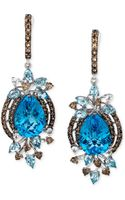 Le Vian Blue Topaz 1312 Ct Smokey Quartz 113 Ct Tw and White Topaz 14 Ct Tw Earrings in 14k White Gold - Lyst