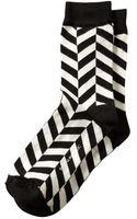 Banana Republic Chevron Stripe Trouser Sock Black - Lyst