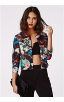Missguided Nori Brush Stroke Print Cropped Blazer - Lyst