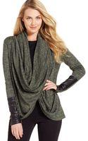 DKNY Metallic Marled-knit Snap-and-wrap Cardigan - Lyst