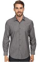 Perry Ellis Slim Fit French Cuff Iridescent Stripe Dress Shirt - Lyst